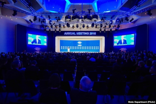 U.S. Secretary of State John Kerry delivers a speech on Jan. 22, 2016, to attendees at the World Economic Forum in Davos, Switzerland.