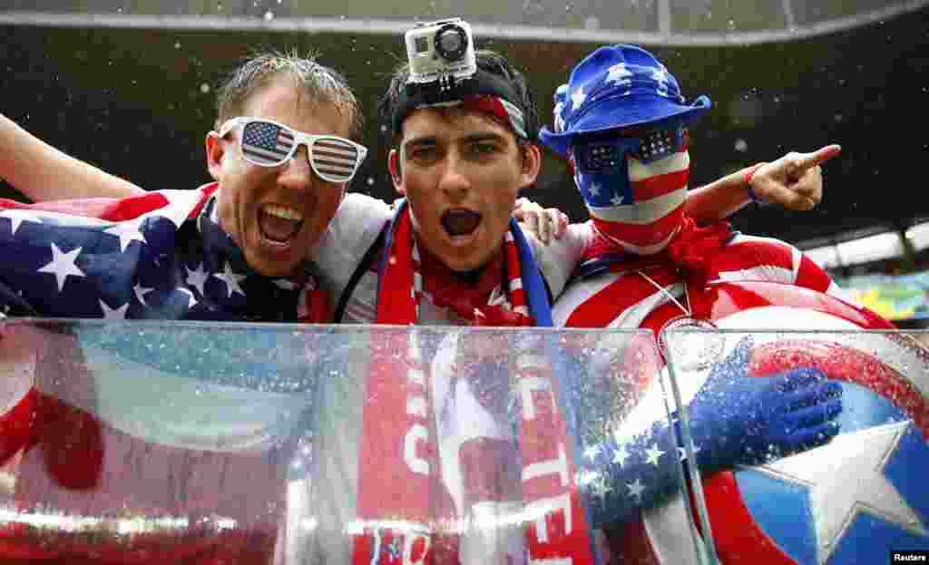 U.S. fans are seen before the 2014 World Cup Group G soccer match between the U.S. and Germany at Pernambuco arena in Recife, Brazil.