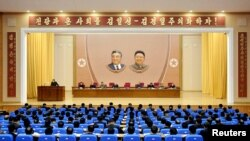 A plenary session of party, state, economic organization, and military personnel was held in Pyongyang on January 7 and 8 to thoroughly carry out the martial task that leader Kim Jong Un presented in his New Year address, in this undated photo released by