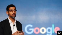 FILE - In this Wednesday, Jan. 4, 2017, file photo, Google CEO Sundar Pichai speaks during a news conference on Google's collaboration with small scale local businesses in New Delhi.