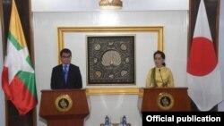 ဂ်ပန္ႏုိင္ငံျခားေရး၀န္ႀကီး တာရုိ ကုိႏုိနဲ႔ ႏုိင္ငံေတာ္အတုိင္ပင္ခံပုဂၢဳိလ္ ေဒၚေအာင္ဆန္းစုၾကည္ သတင္းစာရွင္းလင္းပြဲ (Myanmar State Counsellor Office)
