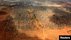 FILE - An aerial view shows makeshift shelters at the Dagahaley camp in Dadaab, near the Kenya-Somalia border in Garissa County, Kenya.