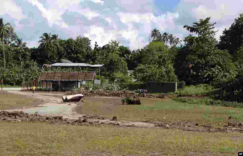 Debris litters the partially destroyed Lata Airport, Solomon Islands following a tsunami, Feb. 6, 2013. (World Vision)