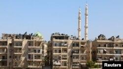 Des bâtiments de civils détruits dans la ville de Alep en Syrie. le 29 juillet 2016.