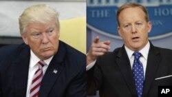 President AS Donald Trump dan Juru bicara Gedung Putih, Sean Spicer (kanan).