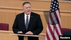 美国国务卿蓬佩奥在埃塞俄比亚首都亚的斯亚贝巴举行的联合国非洲经济委员会会议上讲话。(2020年2月19日)
