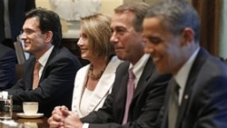 From left, House Majority Leader Eric Cantor, Minority Leader Nancy Pelosi and Speaker John Boehner share a smile with President Obama at the White House Thursday.