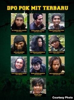 Daftar Pencarian Orang (DPO) Kelompok Mujahidin Indonesia Timur (MIT) yang menjadi target satuan tugas (satgas) operasi Tinombala. (Foto: Humas Polda Sulawesi Tengah)