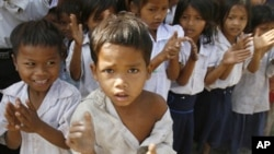 Young students in Cambodia.