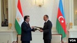 Azərbaycan prezidenti İlham Əliyev və Tacikistan prezidenti Emoməli Rəhmon