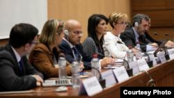 美国常驻联合国代表妮基·黑利在日内瓦参加联合国人权理事会相关会议。(2017年6月5日)