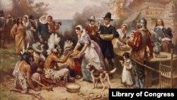 Una pintura de Jean Leon Gerome Ferris titulada 'El primer Día de Acción de Gracias' muestra a peregrinos y nativos americanos reunidos para compartir una comida.