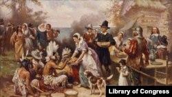 """""""第一个感恩节"""",描绘早期移民与印第安人一道进餐的情形,画家是琼·利昂·杰罗姆·菲利斯。"""
