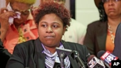 FILE - Samaria Rice, the mother of Tamir, a 12-year-old boy fatally shot by a Cleveland police officer, speaks during a news conference, March 3, 2015, in Cleveland.