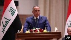 Perdana Menteri baru Irak, Mustafa al-Kadhimi saat memberikan sambutan di hadapan parlemen di Baghdad, Irak, 7 Mei 2020. (Foto: dok).