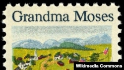 미국 우정국이 발행한 그랜마 모지스의 그림 우표.
