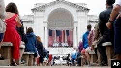 川普總統在阿靈頓國家公墓發表講話。 (2018年5月28日)