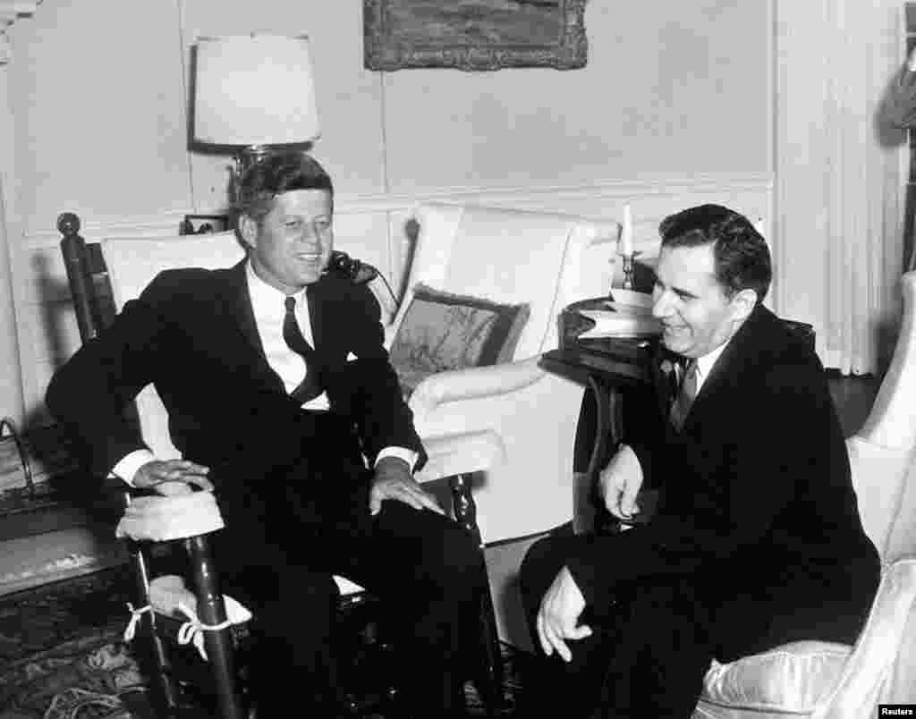Then U.S. President John F. Kennedy, seated in fabric-covered rocking chair, meets with Andrei Gromyko, then Minister of Foreign Affairs of the Soviet Union, in the Yellow Oval Room at the White House, Washington, Oct 6, 1961 (handout photo by John F. Kennedy Presidential Library and Museum.)