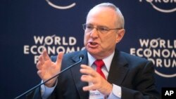 FILE - David Saperstein speaks during a debate on religion at the 43rd Annual Meeting of the World Economic Forum (WEF) in Davos, Switzerland, Jan. 25, 2013.