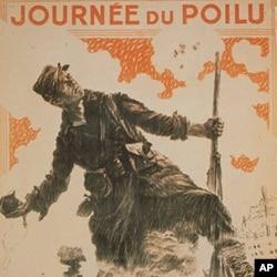 1915年的一张海报显示法国士兵手持手榴弹