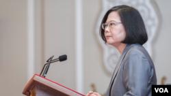 台灣總統蔡英文就薩爾瓦多斷交事件發表看法。(台灣總統府提供)