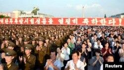 13일 평양 김일성광장에서 북한 5차 핵실험을 축하하는 평양시군민경축대회가 열렸다고 조선중앙통신이 보도했다.