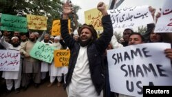 Demonstrators shout slogans in response to U.S. President Donald Trump's recognition of Jerusalem as Israel's capital during a protest in Peshawar, Pakistan Dec. 12, 2017.