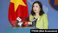 Người phát ngôn Bộ Ngoại giao Việt Nam Lê Thị Thu Hằng tại cuộc họp báo ngày 18/1/2018.