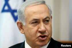Israel's Prime Minister Benjamin Netanyahu speaks during the weekly cabinet meeting in Jerusalem, April 6, 2014.