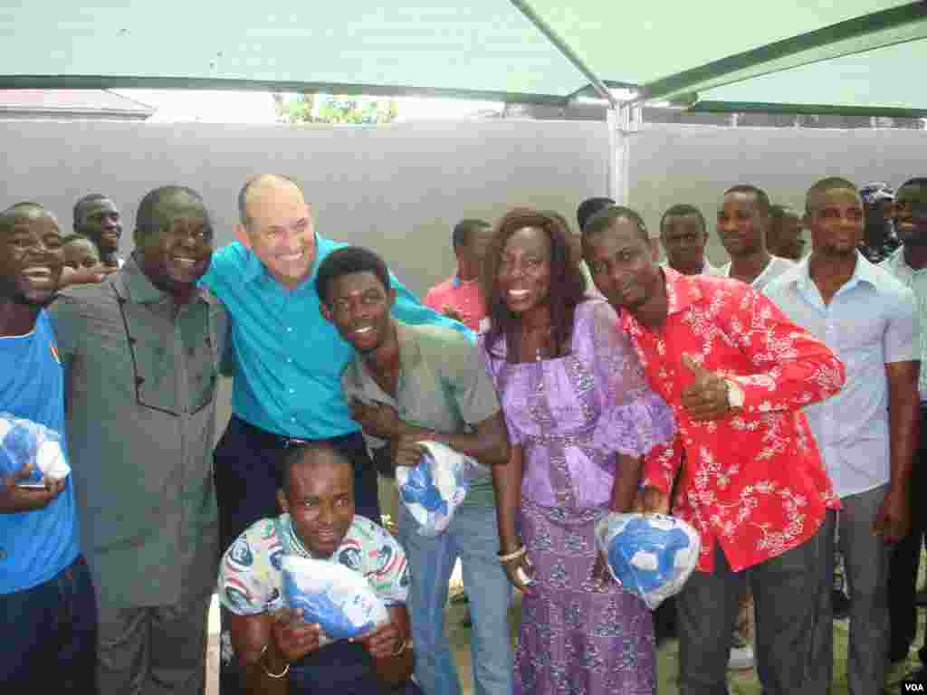 Sonny Side of Sports fans pose with host Sonny Young and Sports Radio Brila FM CEO Dr. Larry Izamoje and wife Mrs. Bridget Larry Izamoje.