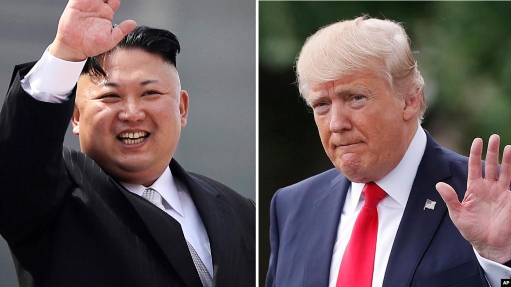 Ảnh lãnh tụ Bắc Hàn Kim Jong Un ngày 15/4/2017, ở Bình Nhưỡng (bên trái), và Tổng Thống Donald Trump ở Washington ngày 29/4/2017.