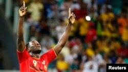 Romelu Lukaku de la Belgique jubile après la victoire contre les Etats-Unis lors de la coupe du monde à Salvatro, Brésil, 1er juillet 2014.