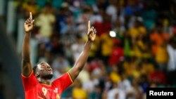 Pemain Belgia Romelu Lukaku setelah mencetak gol kemenangan Belgia di menit ke 107 di Salvador, Brazil (1/7).