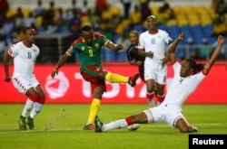Burkina Faso faces off with Cameroon in the Africa Cup of Nations tournament at the Stade de l'Amitie stadium in Libreville, Gabon, Jan. 14, 2017.