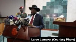 FILE - South Sudanese President Salva Kiir delivers a speech to lawmakers July 8, 2015. Kiir stunned mediators by walking away from a long-sought peace deal with rebels Monday.