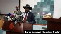 South Sudanese President Salva Kiir delivers a speech to lawmakers on Wednesday, July 8, 2015, as he begins a new, 3-year term in office. Parliament voted in March 2015 to extend the terms of all elected officials in South Sudan to avoid a power vacuum as