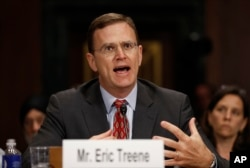 Eric Treene, special counsel for religious discrimination, Civil Rights Division of the Justice Department, testifies before the Senate Judiciary Committee hearing on responses to the increase in religious hate crimes on Capitol Hill, Washington, May 2, 2