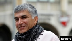 FILE - Bahraini human rights activist Nabeel Rajab arrives for his appeal hearing at court in Manama, Feb. 11, 2015.