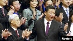 Chủ tịch Trung Quốc Tập Cận Bình và Tổng Bí thư Nguyễn Phú Trọng tại Sảnh đường Nhân dân ở Bắc Kinh, ngày 7/4/2015.