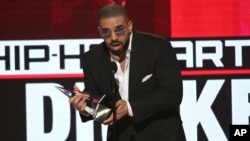 Drake accepts the award for favorite artist - rap/hip-hop at the American Music Awards at the Microsoft Theater on Nov. 20, 2016, in Los Angeles.