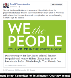As part of the House Permanent Select Committee on Intelligence's open hearing with social media companies on Wednesday, the HPSCI Minority entered into the record as exhibits a representative sampling of advertisements and other content that Facebook, including Instagram, and Twitter have tied to Russian actors and turned over to the committee. Here is an example.