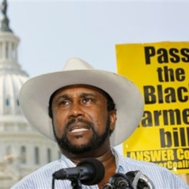 John W. Boyd, Jr., founder and president of the National Black Farmers Association, (seen here on Capitol Hill, 23 Sep 2010) says passage of the Claims Settlement Act is 'long-overdue justice.'