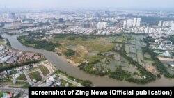 Một phần dự án khu dân cư Phước Kiển do Quốc Cường Gia Lai đầu tư ở huyện Nhà Bè, Tp.HCM