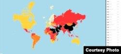 국경없는 기자회가 공개한 '2018 세계언론자유지수' 평가 지도. 국가없는 기자회 웹사이트 캡처.