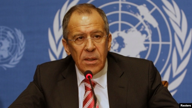 Russian Foreign Minister Sergey Lavrov talks to the press at the disarmament conference at the United Nations in Geneva, Switzerland, on March 7, 2009.