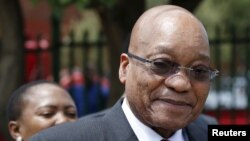 FILE - South Africa's President Jacob Zuma is pictured during his visit to the Lodewyk P. Spies Old Age Home in Eersterust, Pretoria, Dec. 15, 2015.