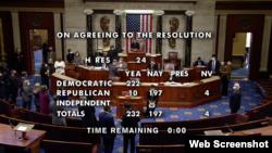 Hạ viện thông qua nghị quyết hôm 13/1/2021 để đàn hặc luận tội Tổng thống Trump.