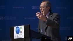 Menteri Ekonomi dan Keuangan Itallia, Pier Carlo Padoan berbicara di kantor OECD di Paris, Perancis (foto: dok).