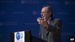 OECD chief economist, Pier Carlo Padoan during a press conference held at the OECD headquarters in Paris, France, September 8, 2011.