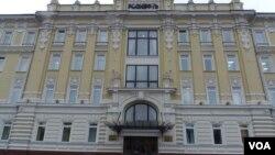 位于莫斯科的罗斯石油公司总部大楼。(美国之音白桦拍摄)